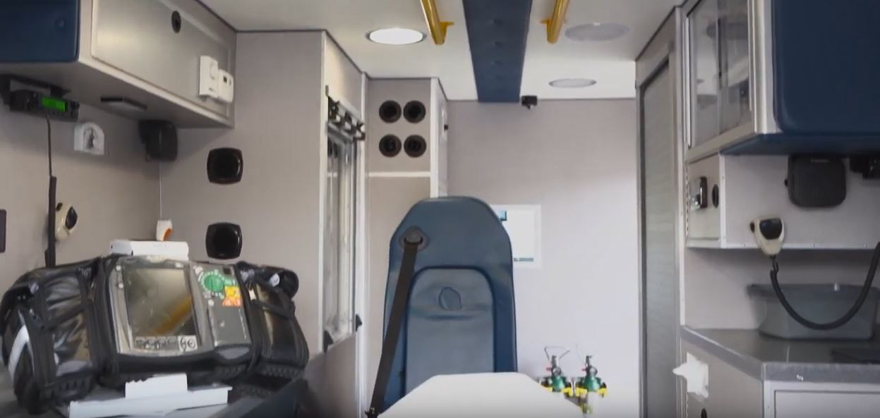 Inside an EMS vehicle