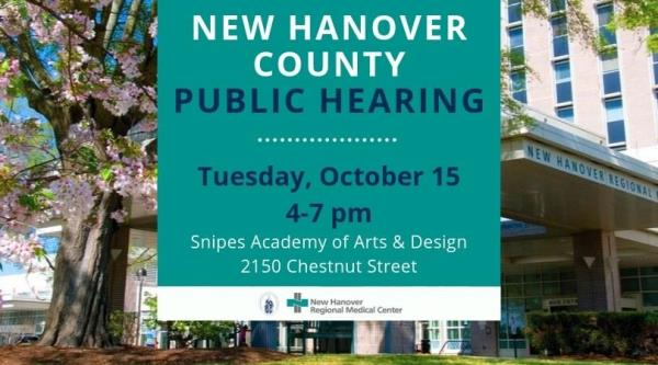 October 15 Public Hearing Will Focus On Priorities For Future Of Nhrmc New Hanover Regional Medical Center Wilmington Nc